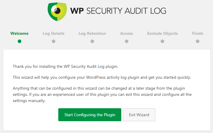 WP Security Audit Log install wizard
