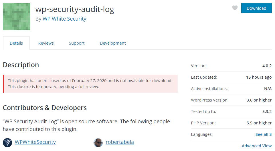 WP Security Audit Log withdrawn from repo